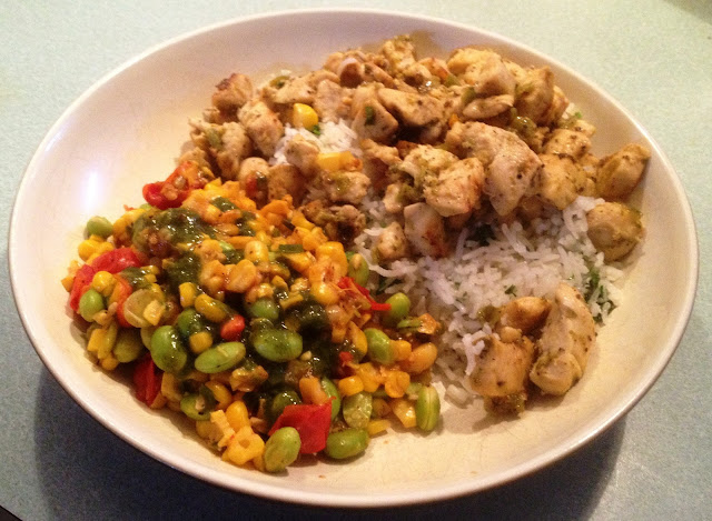 Tequila Lime Chicken with Cilantro Rice.   Served with Skillet Corn, Edamame, and Tomatoes with Basil
